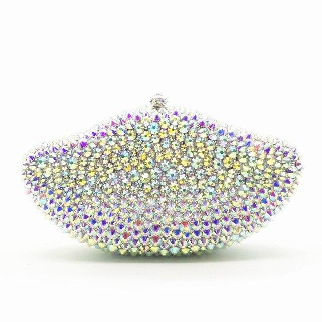 Pani srebrny kryształ diament Minaudiere torby damskie torebki wieczorowe sprzęgła wieczór wesele Cocktail torebka dla nowożeńców kryształ torebka portfele torba