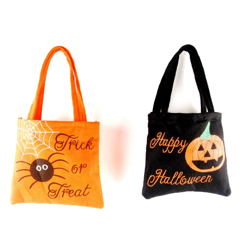 Happy Halloween Nonwovens Cotton Canvas Halloween Tote Bag Witch Pumpkin Prints Halloween Gift Candy Bag Prop Bag