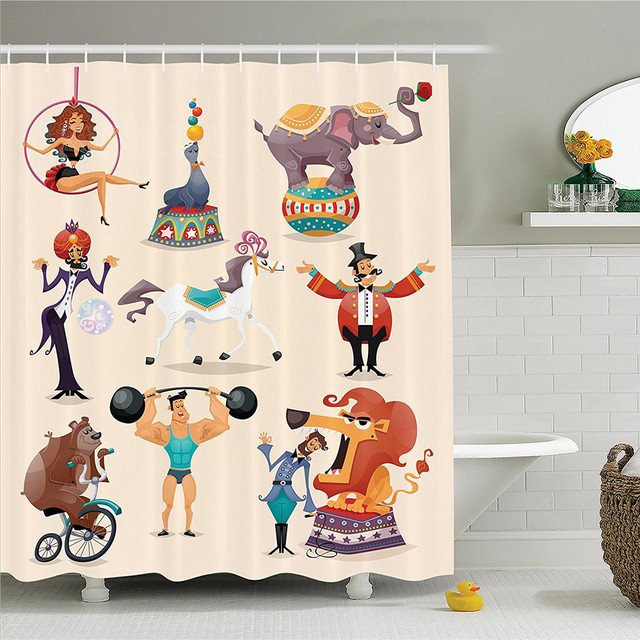 Circus Decor Shower Curtain Set Performance Decorative Fun Athlete Animals Horse Heavy Lifting Bathroom Accessories