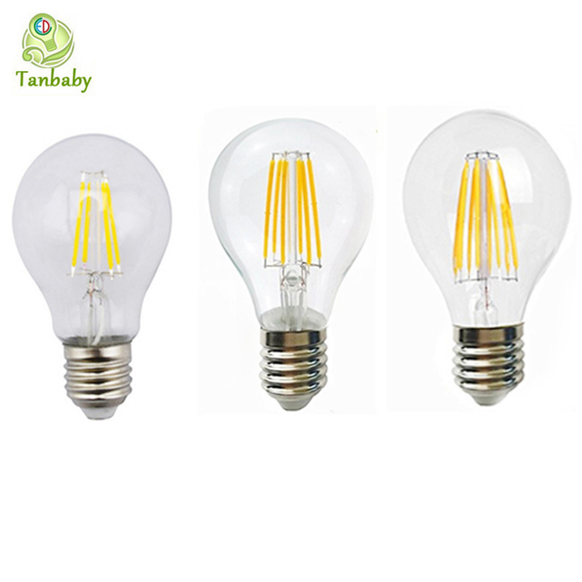 Tanbaby 1pcs 2w 4w 6w 8w E27 Led Filament Bulb A60 Clear Gl Edison Light Bulbs