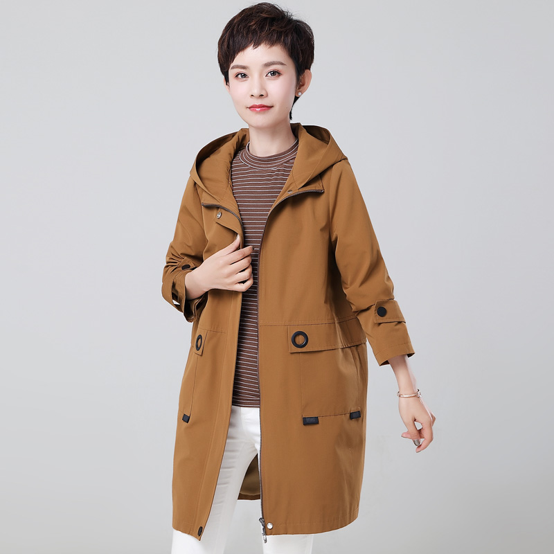 Women   Trench   Coat New Fashion Hooded Long Windbreaker Female Loose Plus Size 4XL Middle-aged Women Basic Coats Outerwear AA616
