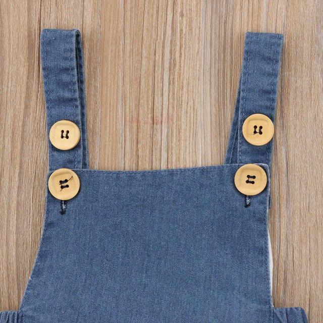 Baby Girls Sleeveless Denim Romper