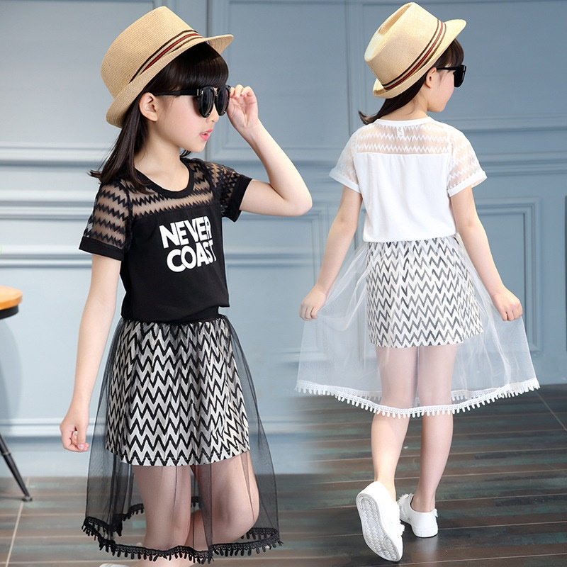 Children clothing sets summer 2017 new summer baby clothes girls' dress summer short-sleeved Yarn skirt suit children' s wear