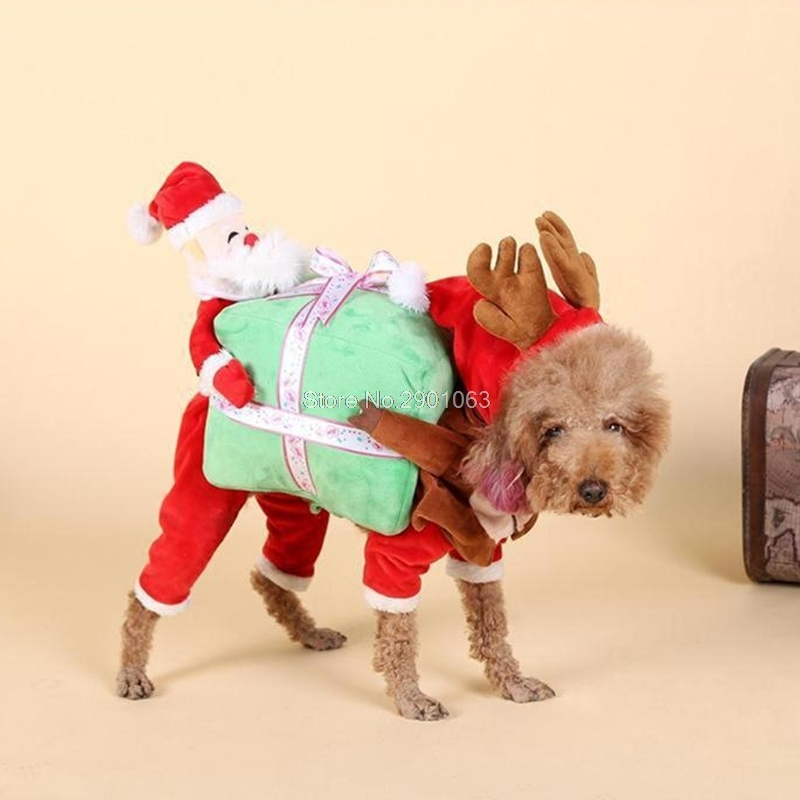 Funny Pet Dog Clothes Santa Claus Carrying Gift Box Costume Fancy ...
