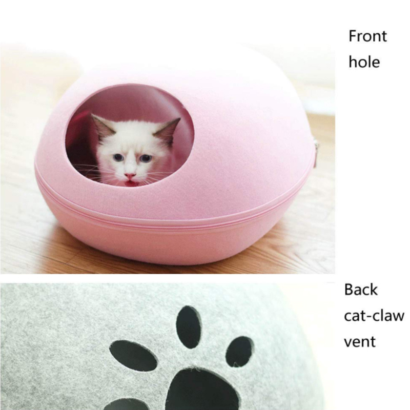 Dog Cat Bed Cave Sleeping Bag Zipper Egg Shape Felt Cloth Pet House Nest Cat Basket Products for Cats Animals Supplies in Cat Beds Mats from Home Garden