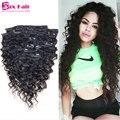 Clip En Extensiones de Cabello Humano Rizado Afro-Americano Clip En Extensiones de cabello Clip en el Cabello Humano Brasileño Virginal Para Negro mujeres