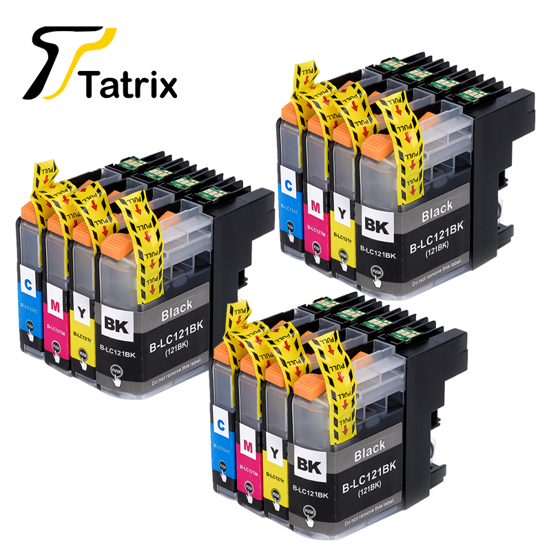 Tatrix 12pcs LC123 LC121 Compatible Ink Cartridge For Brother DCP-J552DW J752DW J132W J152W J172W MFC-J470DW J650DW J870DW J245 картридж с чернилами procolor lc121 lc123 mfc j245 mfc j470dw mfc j475dw mfc j650dw mfc j870dw j650dw j475dw brl mfc j6720dw