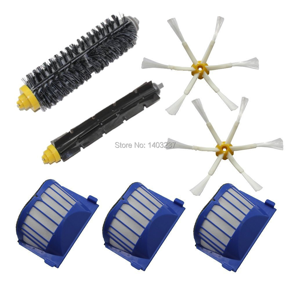 Aero Vac Filter Bristle Brush Flexible Beater Brush 6-Armed Side Brush Pack Kit for iRobot Roomba 600 Series (620 630 650 660) aero vac filter bristle brush flexible beater brush 3 armed side brush tool for irobot roomba 600 series 620 630 650 660