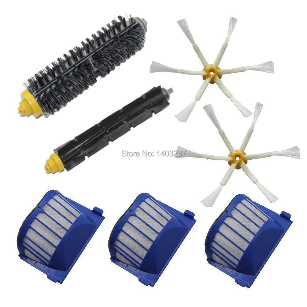 Aero Vac Filter Bristle Brush Flexible Beater Brush 6-Armed Side Brush Pack Kit for iRobot Roomba 600 Series (620 630 650 660)