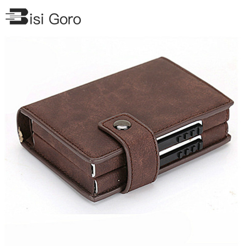 BISI GORO Double Card Wallet Aluminium RFID Blocking Metal WOMEN Card Holder Credit Card Case Women Men Card ID Holder Side Push