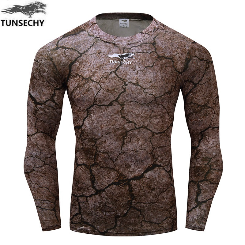 TUNSECHY brand camouflage skin tight compression shirt long sleeve shirt to join campaign weightlifting fitness clothing