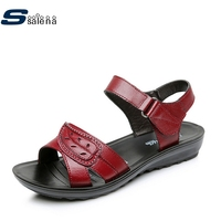 Leather Sandals Women 2017 Breathable Mesh Flats Women Summer Beach Shoes AA40192