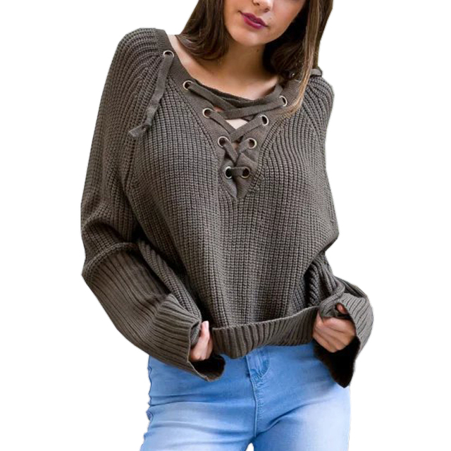 Winter/Autumn women lace up knitted sweater 2016 fashion Cotton Solid Long Sleeve tops female casual O-NECK elastic Pullovers