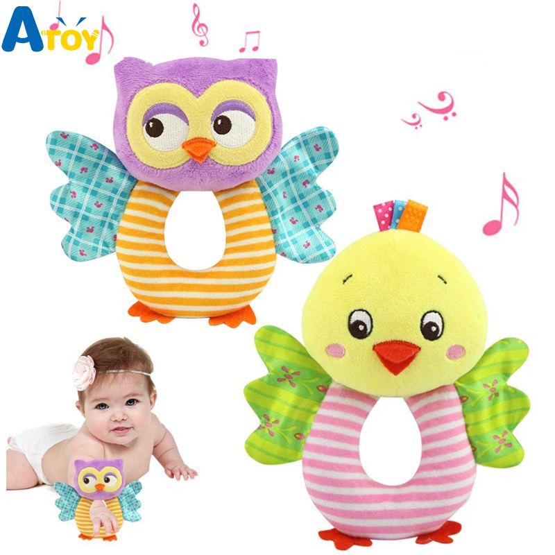 Newborn Baby Plush Toys Baby Rattles 0-24 Months Hand Bell Music Rattle Cartoon Animal Owl Elephant Panda Infant Plush Rattles
