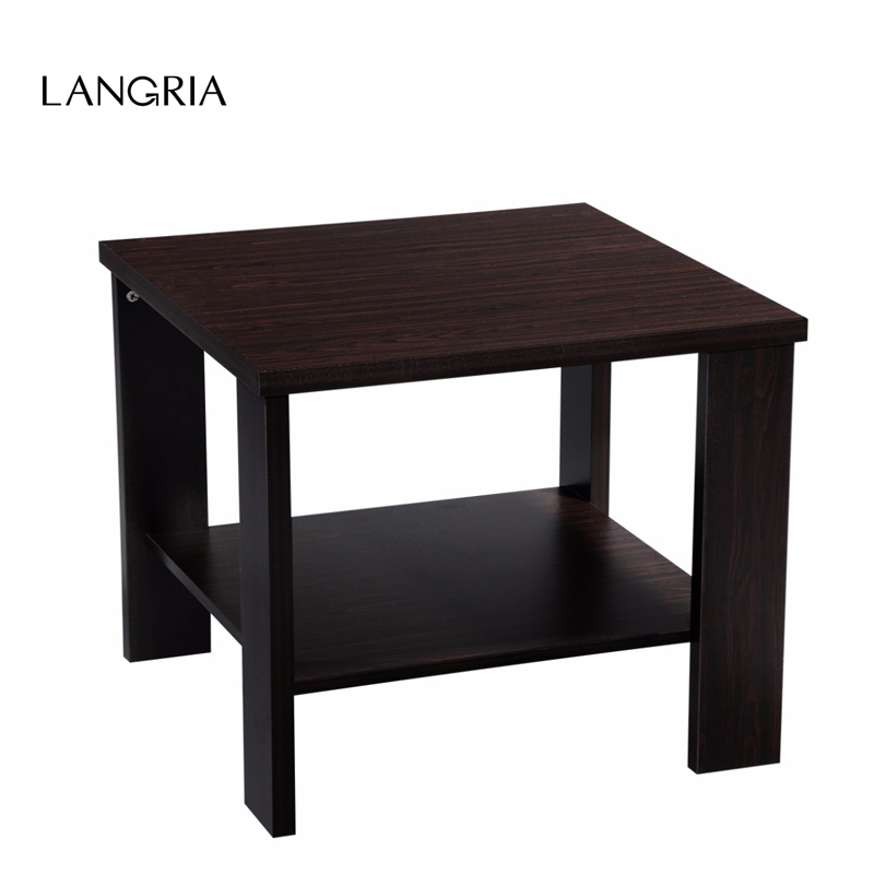 Langria Modern Minimalist Square Coffee Tea Side Sofa End Table Night Stand With Bottom Shelf Black