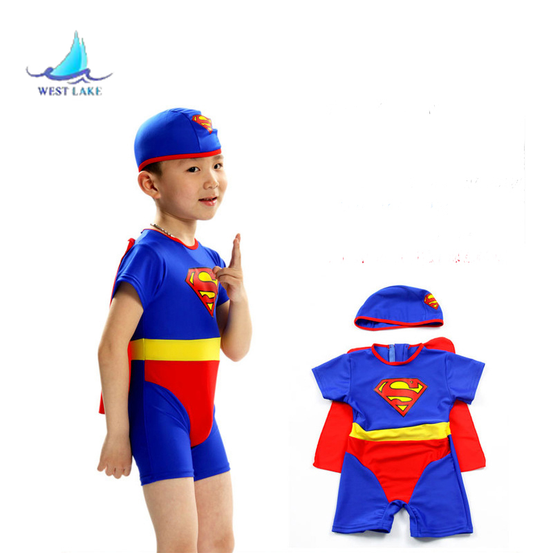One-piece boy swimwear kids swim cartoon toddler boys size choose superman with swim hat and cloak 1piece a lot a cat a hat and a piece of string