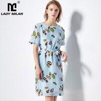 100% Silk Women's Dresses O Neck Short Sleeves Printed Sash Belt Floral Fashion Summer Casual Dresses