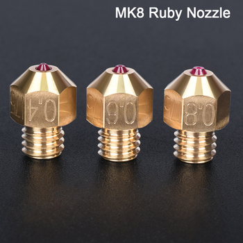 High Temperature High Quality Mk8 Ruby Nozzle 1.75mm Brass Nozzle For PETG ABS SKR V1.3 Ender3 PRo Mk8 Hotend 3D Printer Parts