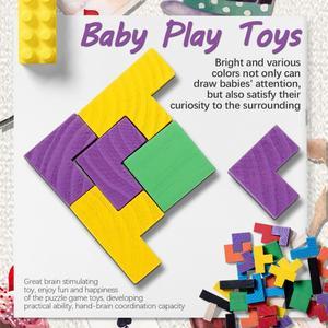 Image 2 - Rompecabezas de madera colorido para bebé, juguete educativo intelectual de maginación para niños