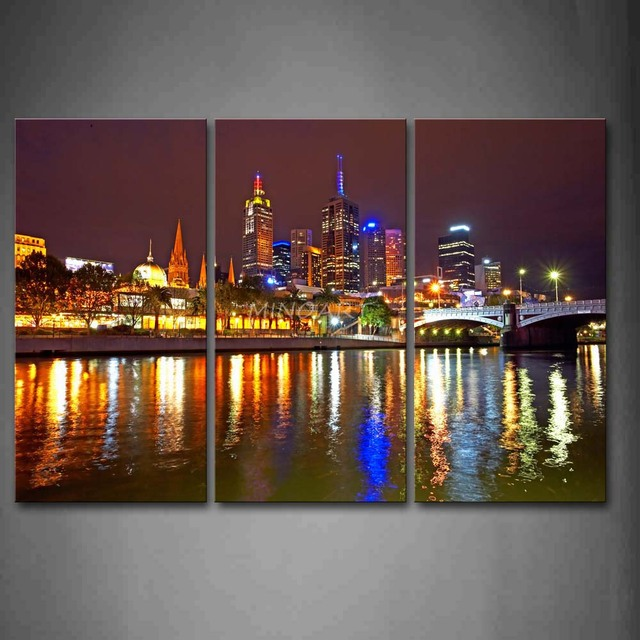 3 Piece Wall Art Painting Melbourne City Is Very Busy Print On