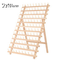 KiWarm Practical 120 Spools Wood Folded Thread Rack Sewing Embroidery Stand Holder Organizer Sewing Tools