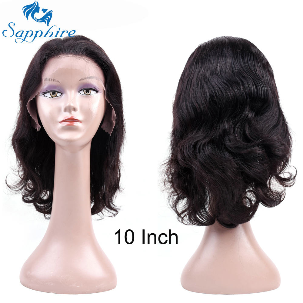 Sapphire Peruvian Body Wave Human Remy Lace Frontal Wigs Natural Black Wigs 10-20 Inch H ...