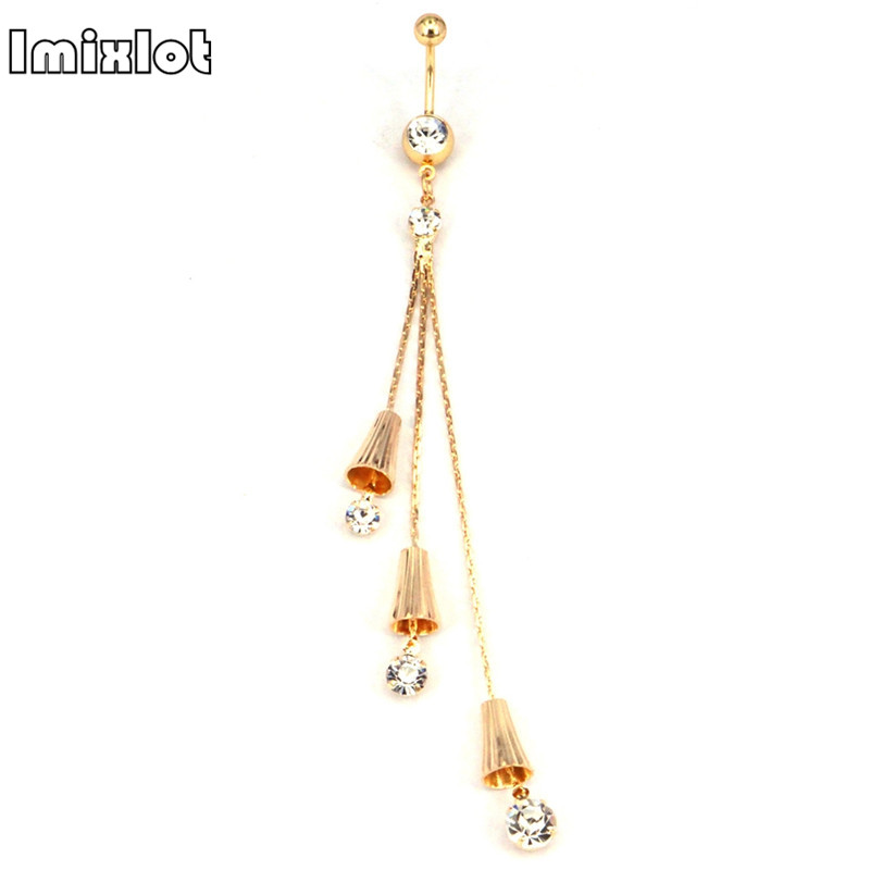 imixlot Clear Crystal Long Tassel Belly Button Ring Fashion Steel Navel Studs Body Piercing Jewelry for Women Free Shipping
