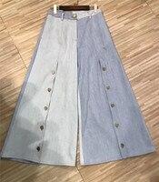 Для женщин широкие штаны для лета длинные джинсы с боты Повседневное синий джинсовые штаны для леди