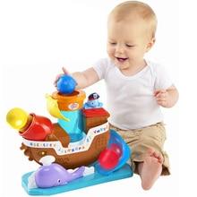 HUAILE Baby Leksaker Flerfunktion Electric Pirate Ship Leksak för barn Roligt spel för att starta bollbåtleksan