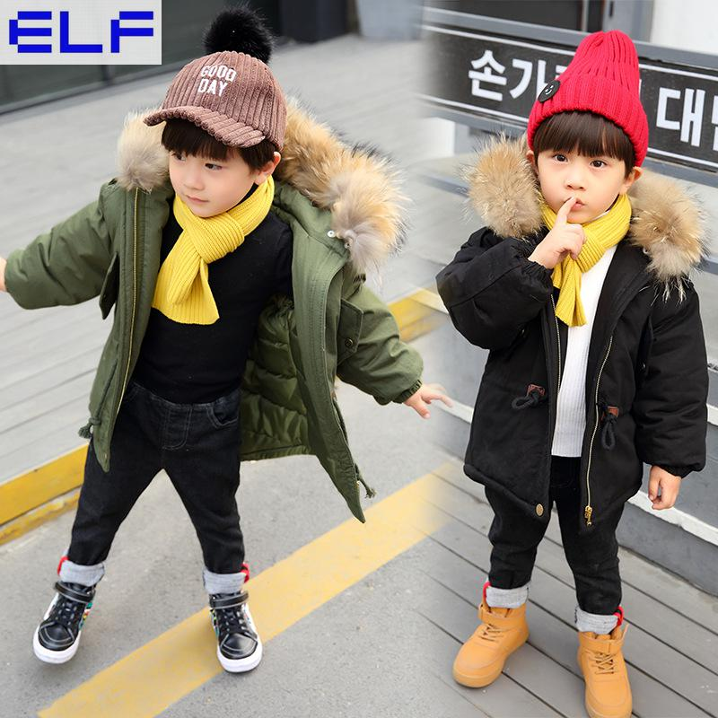 2018 Age 3-14 Autumn Warm Down cotton Thick Fur Collar Hooded Coat Children's Parka For The Boy Kids Teenage Winter Jacket цена