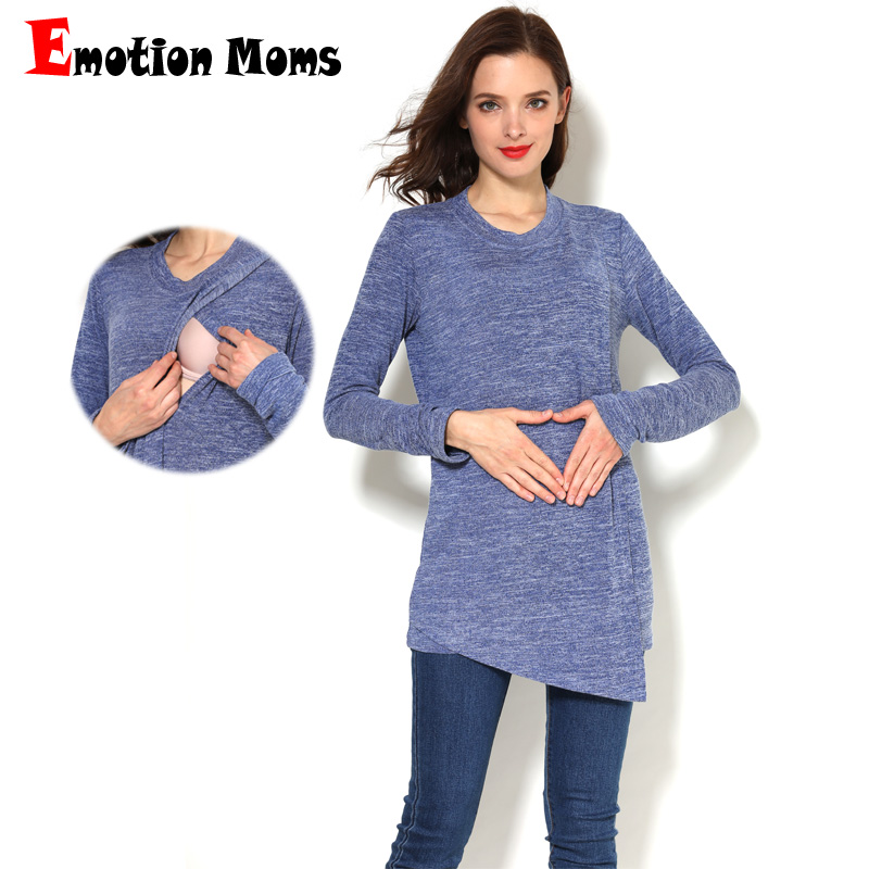 Emotion Moms Winter Autumn Maternity Clothes Long Sleeve T-shirt Breastfeeding For Pregnant Women Nursing Tops
