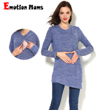 Emotion Moms Winter Autumn Maternity Clothes Long Sleeve Maternity T-shirt Breastfeeding Clothes For Pregnant Women Nursing Tops цена и фото