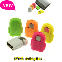For Android Robot Shape Micro Mini USB OTG Adapter Converter 2.0 For Samsung Xiaomi Tablet PC Connect To U Flash Mouse Keyboard