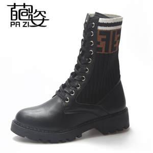 b2ba2dda33d Women Lace Up Flat Platform Heel Ankle Boots Black Ladies