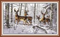 Animal Antelopes In The Snow Counted 11CT 14CT DMC Cross Stitch DIY China Cross Stitch Kits