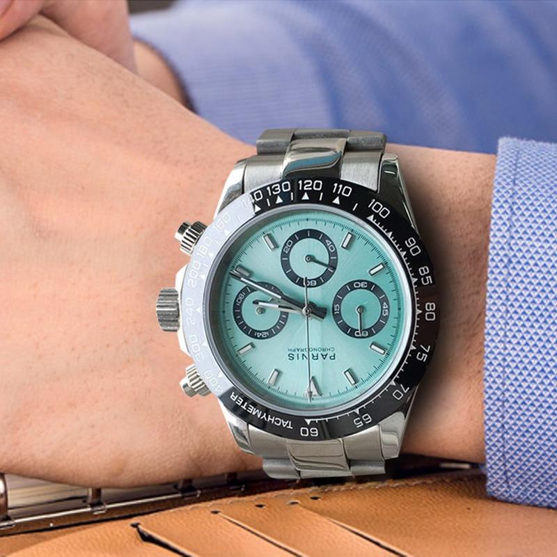 Casual Parnis 39MM Quartz Men Watch Waterproof Sapphire Crystal Chronograph Men's Wrist Watches Man Clock Relojes Hombre 2019