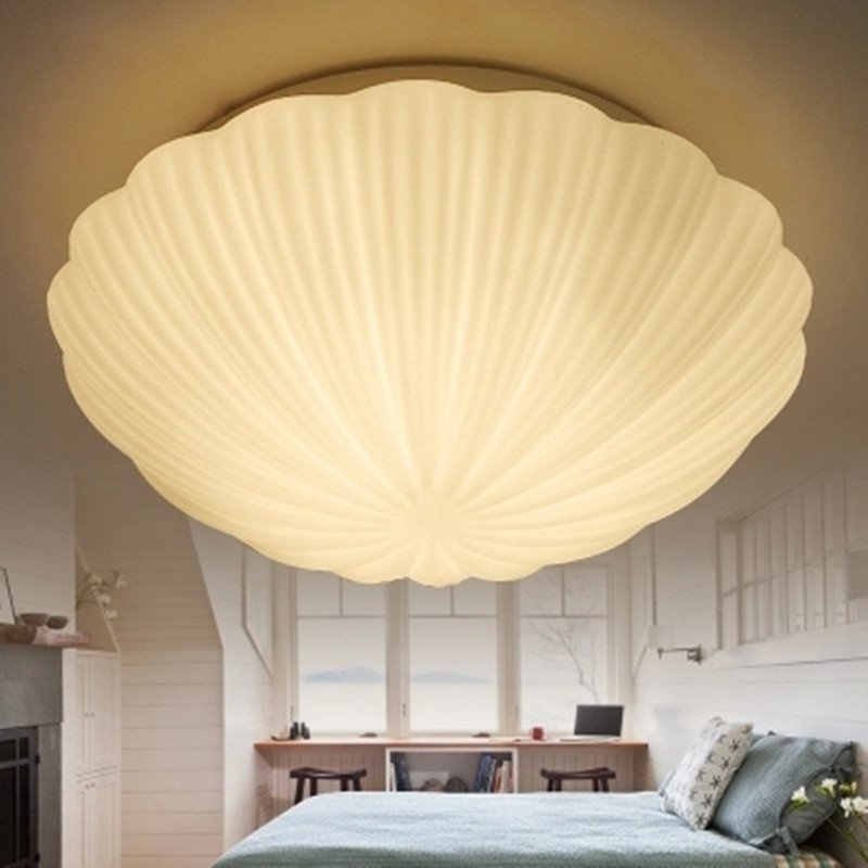 Shell Glass Ceiling Lights Home Lighting Modern White Cover Lamparas de Techo Plafondverlichting Led Lights for Home D28 D35CM noosion modern led ceiling lamp for bedroom room black and white color with crystal plafon techo iluminacion lustre de plafond