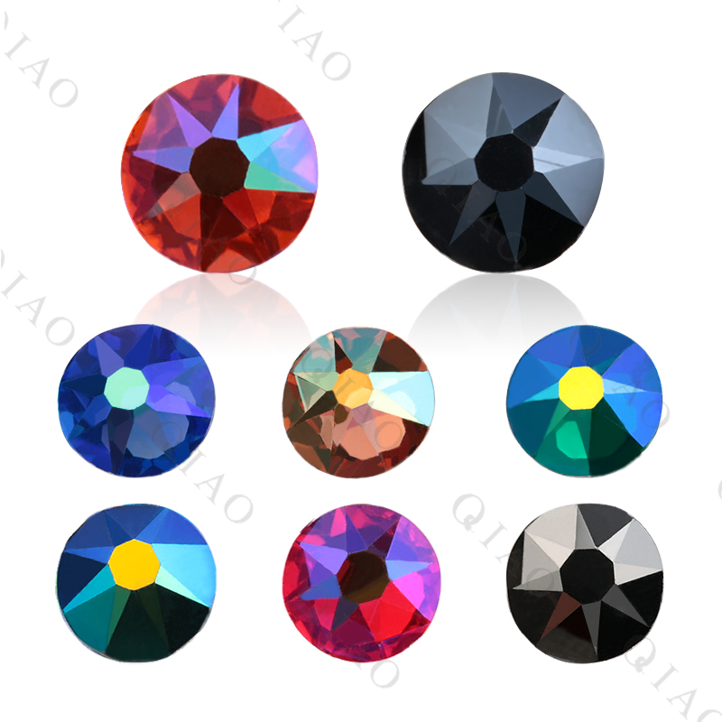 8 Big 8 Small Cutting Surface Hot Fix Crystal Rhinestones Glass Hotfix Strass Stone Crystals AB Iron On Clothes