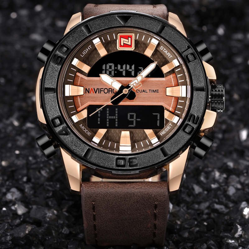 Dual Display Digital Quartz Watch Men's Waterproof Sport Watch Leather Band 1