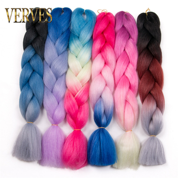VERVES Synthetic Braiding Hair 1 piece 24 inch Jumbo Braid 100g/piece pure and ombre high temperature Fiber Hair Extensions фото