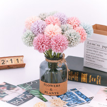 Artificial flowers colorful artificial dandelion fake plants flowers for Home Wedding Decoration indoor high quality(China)