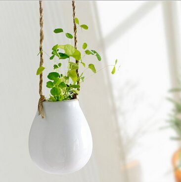Mkono 2 Pack Ceramic Hanging Planter Flower Pot Water Planter Plant Vase Decorative Hydroponic Container for Home Indoor Decor
