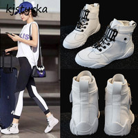 Kjstyrka 2018 fashion women sneakers women casual shoess lace up buckle breathable leather shoes high top white sneakers