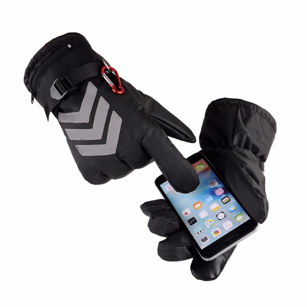 Touch Screen Electric Heating Gloves Waterproof Insulated Night Reflective Back Motorcycle Ski Gloves Warmer For Unisex US Plug стоимость