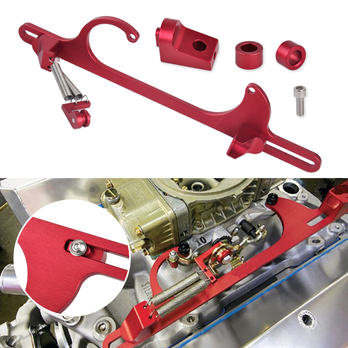 4160 Series Red Throttle Cable Carb Bracket Replacement For Holley Carb 4150