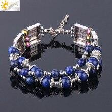 CSJA, nueva pulsera envolvente de 3 filas, brazalete de cuarzo de cristal de piedra Natural para mujer, joyería Vintage, pulseras multicapa ajustables, F738