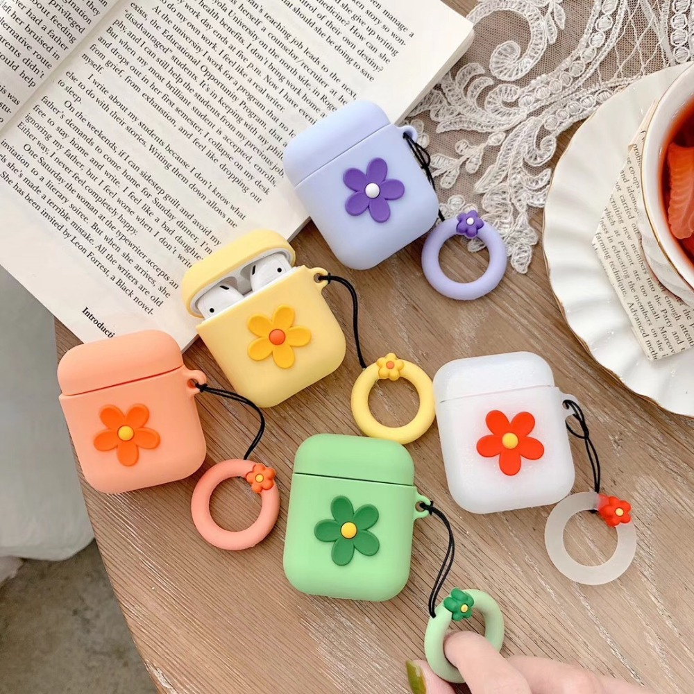 Cute 3D Small fresh Flowers Keychain Headphone Earphone Case For Apple Airpods Accessories cute silicone cover