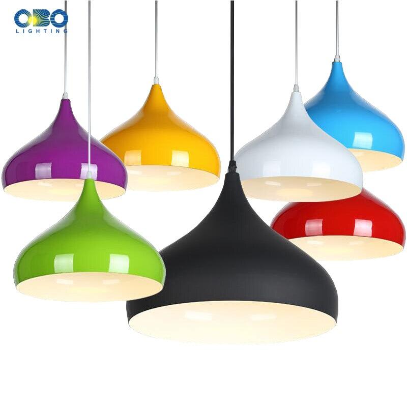 Modernas Luzes Pingente de Alumínio Abajur Cor Pintado Macaron Estilo Mesa de Jantar Pingente Lâmpada de Iluminação Interior E27 110-240 V
