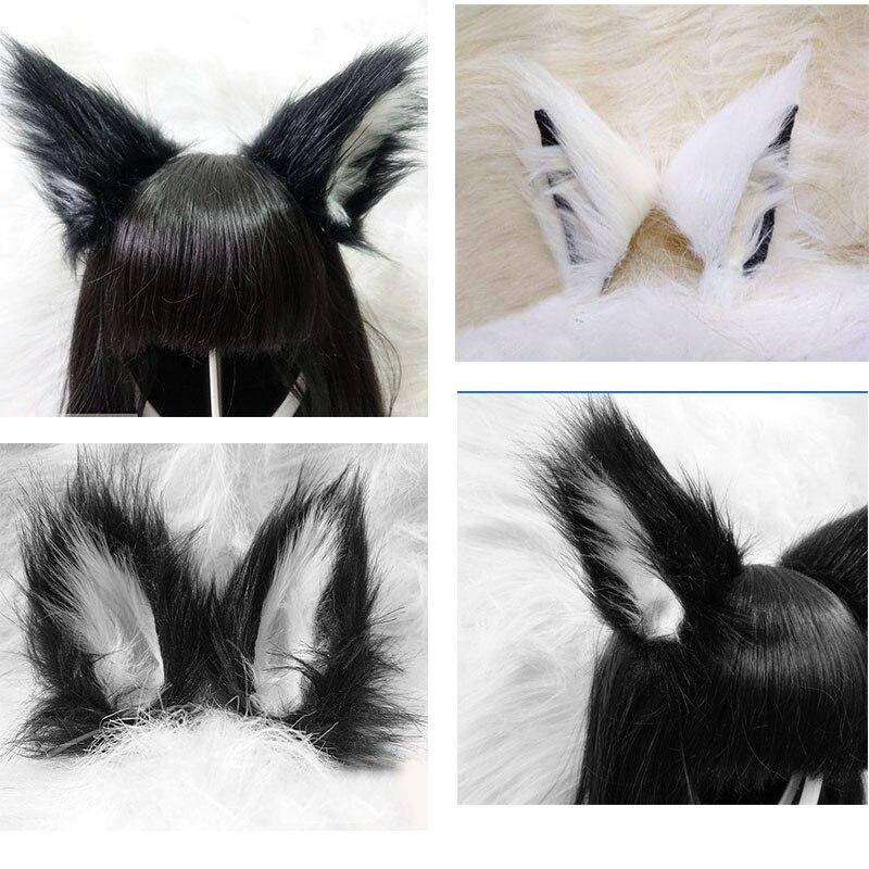 Lolita anime cosplay longo pele de raposa orelhas clipe de cabelo festa neko gato orelha festa de natal bandana para cima conjunto feminino meninas festa adereços