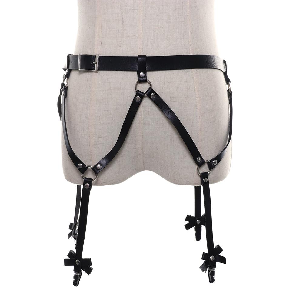 Sexy Garter Belt Strap Women PU Leather Garter Body Belts Strap Waist To Leg Thigh Suspenders Gothic Cross Suspenders
